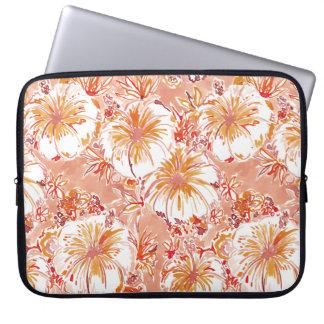 KOMBUCHA-CHA Peach Tropical Hibiscus Pattern Laptop Sleeve