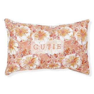 KOMBUCHA-CHA Peach Tropical Hibiscus Pattern Pet Bed