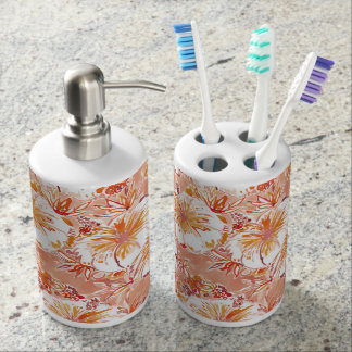 KOMBUCHA-CHA Peach Tropical Hibiscus Pattern Soap Dispenser And Toothbrush Holder