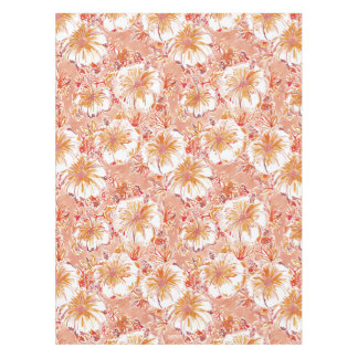 KOMBUCHA-CHA Peach Tropical Hibiscus Pattern Tablecloth