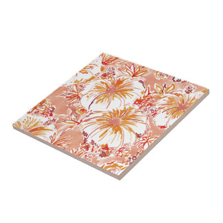 KOMBUCHA-CHA Peach Tropical Hibiscus Pattern Tile