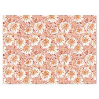 KOMBUCHA-CHA Peach Tropical Hibiscus Pattern Tissue Paper
