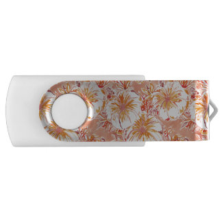KOMBUCHA-CHA Peach Tropical Hibiscus Pattern USB Flash Drive