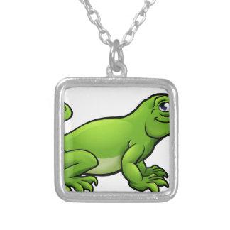 Komodo Dragon Lizard Cartoon Character Silver Plated Necklace