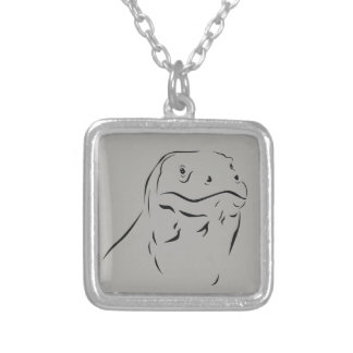 Komodo Silhouette Silver Plated Necklace