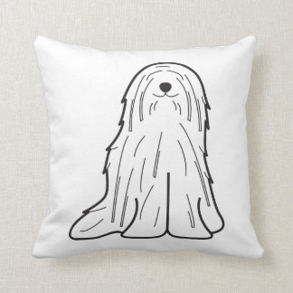 Komondor Dog Cartoon Throw Pillow