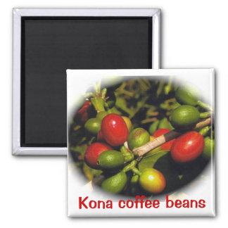 Kona Coffee Beans Square Magnet