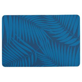 Kona Palms Hawaiian Leaf Tropical -Indigo Floor Mat