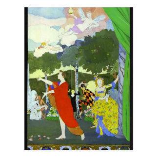 Konstantin Somov-Curtain Design for 'Free Theatre' Postcard