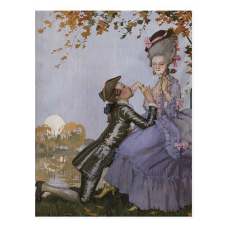 Konstantin Somov-Youth on His Knees before a Lady Postcard