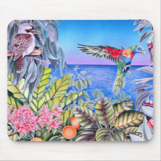 Kookaburra and Rainbow Lorikeets Mouse Pad