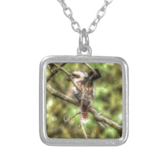 KOOKABURRA & WILLIE WAGTAIL QUEENSLAND AUSTRALIA SILVER PLATED NECKLACE