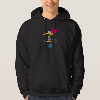 kooky crazy tropical exotic bird cartoon hoodie