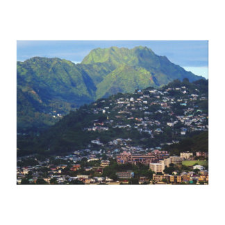 Koolau Mountains Behind Honolulu. Canvas Print