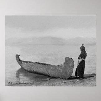 Kootenai Man Standing by Canoe Poster