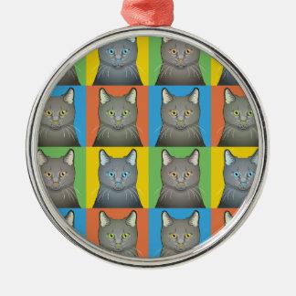 Korat Cat Cartoon Pop-Art Metal Ornament