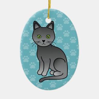 Korat Cat Cute Cartoon Illustration Ceramic Ornament