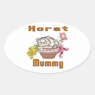 Korat Cat Mom Oval Sticker