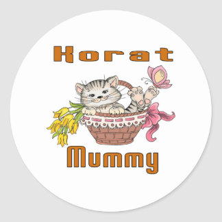 Korat Cat Mom Round Sticker