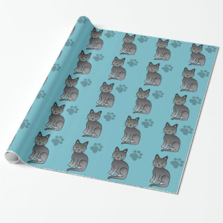 Korat Cat On Blue And A Light Cat Paw Print Wrapping Paper