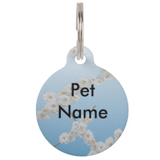 Korea Cherry Blossoms White Pet Name Tag