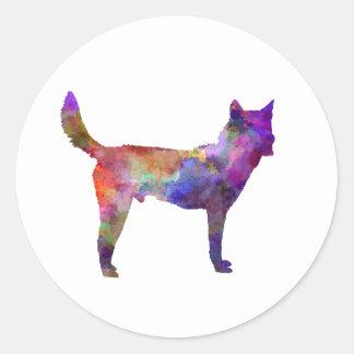Korea Jindo Dog in watercolor Classic Round Sticker