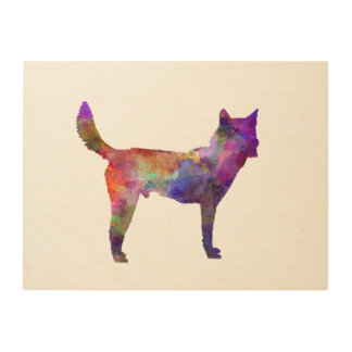 Korea Jindo Dog in watercolor Wood Print
