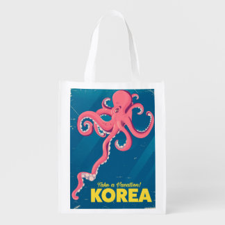 Korea Vacation poster Reusable Grocery Bag