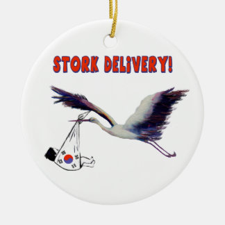 Korean Adoption - Stork Delivery Ceramic Ornament