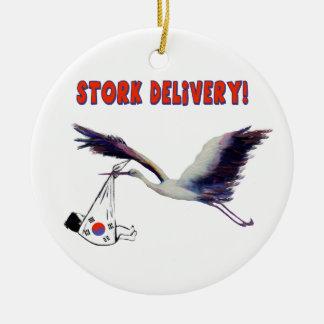 Korean Adoption - Stork Delivery Round Ceramic Ornament