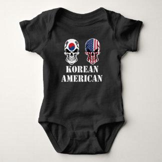 Korean American Flag Skulls Baby Bodysuit