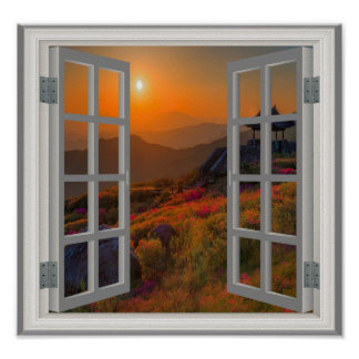 Korean Autumn Sunset Buddhist Temple Faux Window Poster