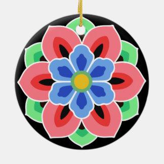Korean Dancheong Flower Ceramic Ornament