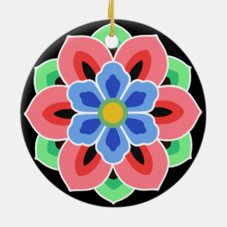 Korean Dancheong Flower Round Ceramic Ornament