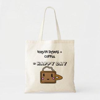 Korean Dramas + Coffee = Happy Day Tote Bag