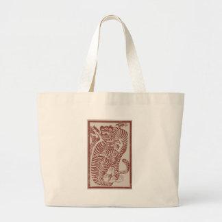 Korean Folk Art Tiger Large Tote Bag
