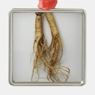 korean food,ginseng Silver-Colored square ornament
