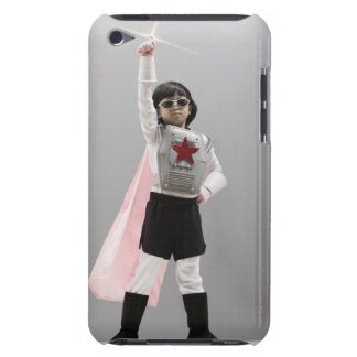 Korean girl in superhero costume with arm raised Case-Mate iPod touch case