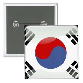 Korean glossy flag 2 inch square button