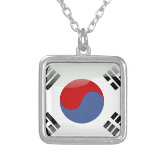 Korean glossy flag silver plated necklace