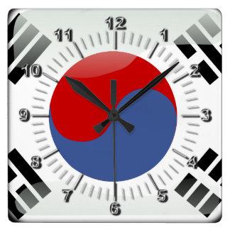 Korean glossy flag square wall clock