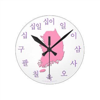 Korean Hangul Clock with Map - Purple and Pink