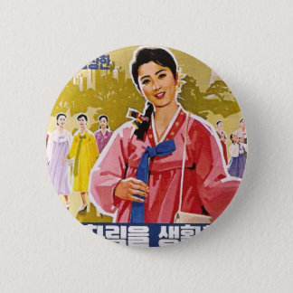Korean Ladies Wearing Hanbok 2 Inch Round Button