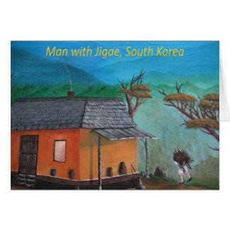 Korean Man Carrying Wood (Jigae) Card
