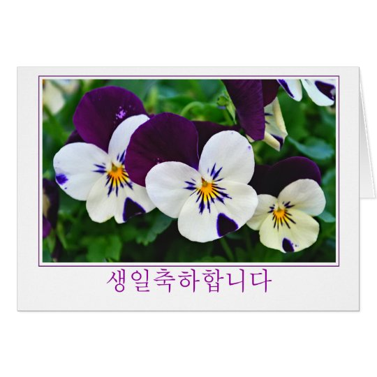 Korean purple and white pansy birthday card