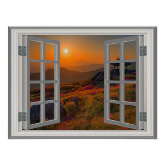 Korean Temple Faux Window View Autumn Sunset Poster