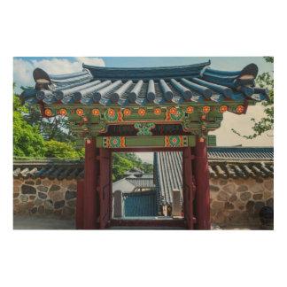 Korean Temple Gate Wood Print