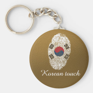 Korean touch fingerprint flag basic round button keychain