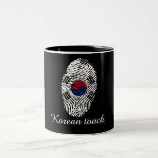 Korean touch fingerprint flag Two-Tone coffee mug