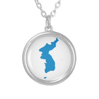 Korean Unification Communist Socialist Flag Silver Plated Necklace